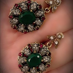 Emerald Goddess Ruby Sterling Silver Earrings 925